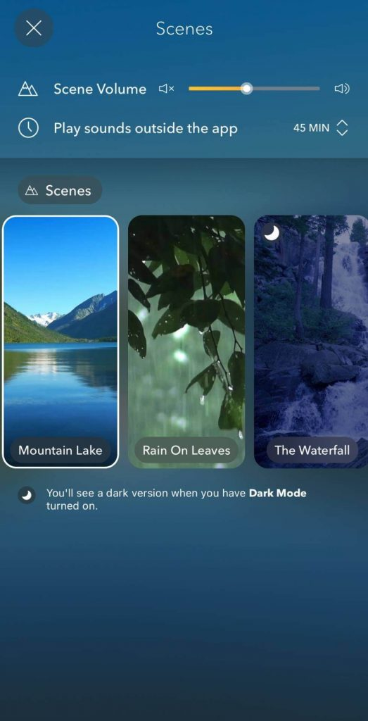 This is a picture of calm apps section to change nature scenes