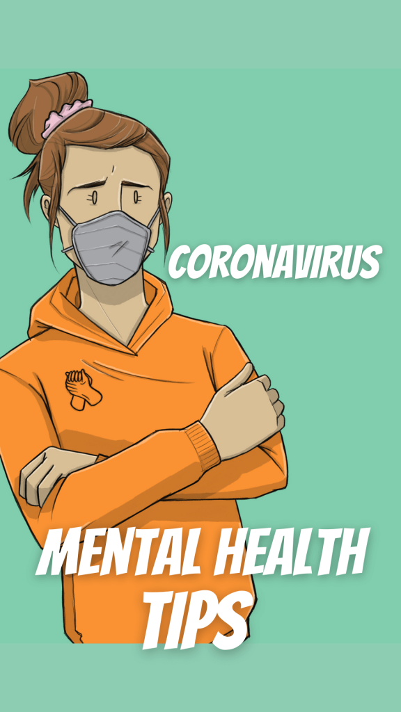 This is a drawing of a girl wearing a mask for corona virus tips for mental health