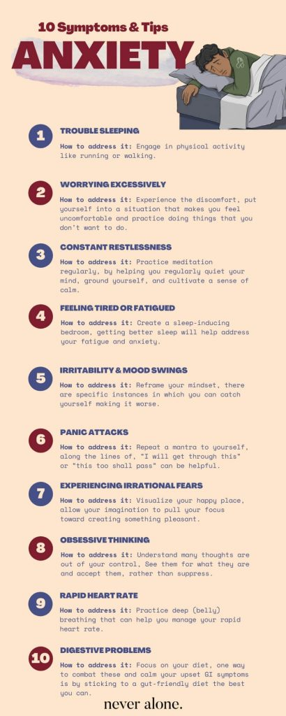 This is an infographic on 10 anxiety symptoms and treatments