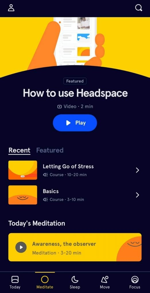 This is a picture of the headspace app being vague