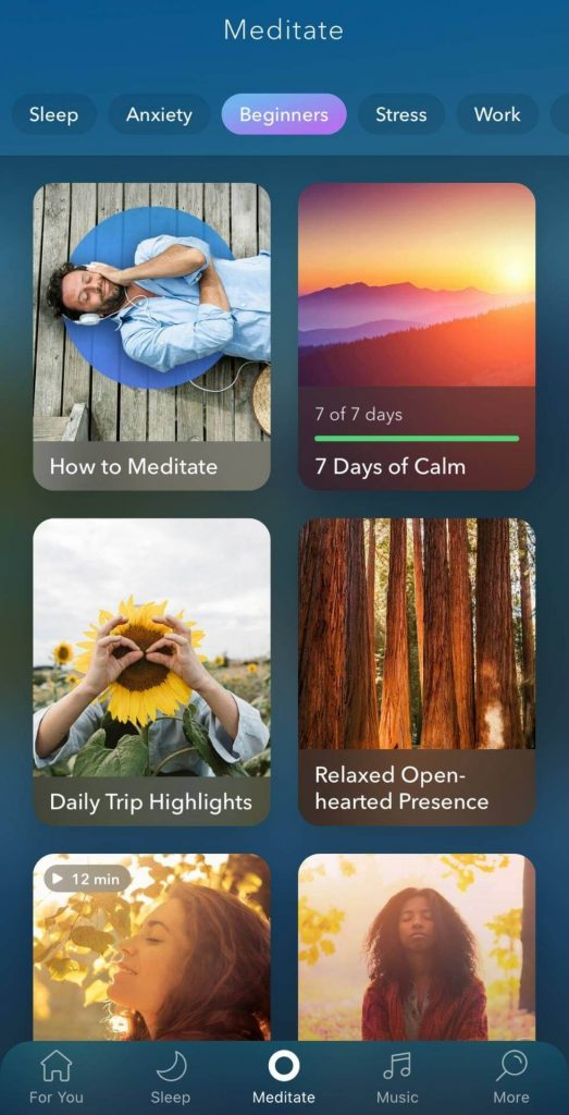 This is a picture of calm apps meditation choices
