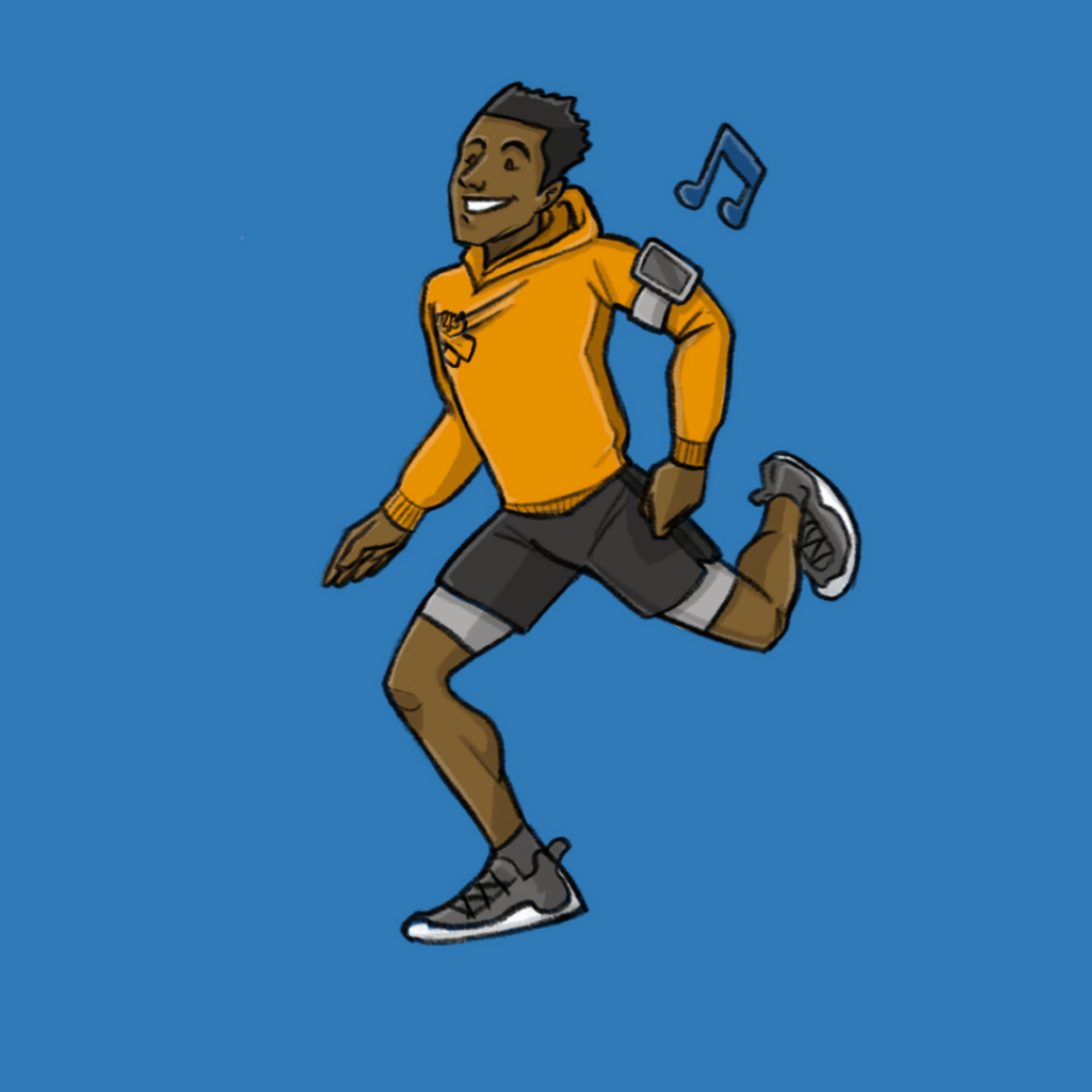 this is a drawing of a black man running and happy with blue background