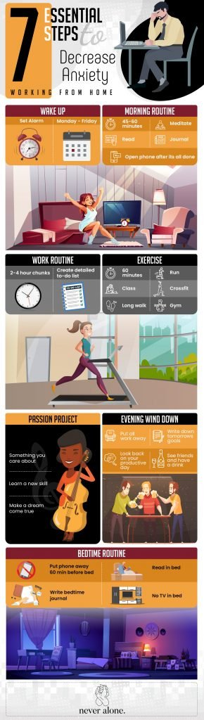 This is a vertical infographic of how to work from home with less anxiety