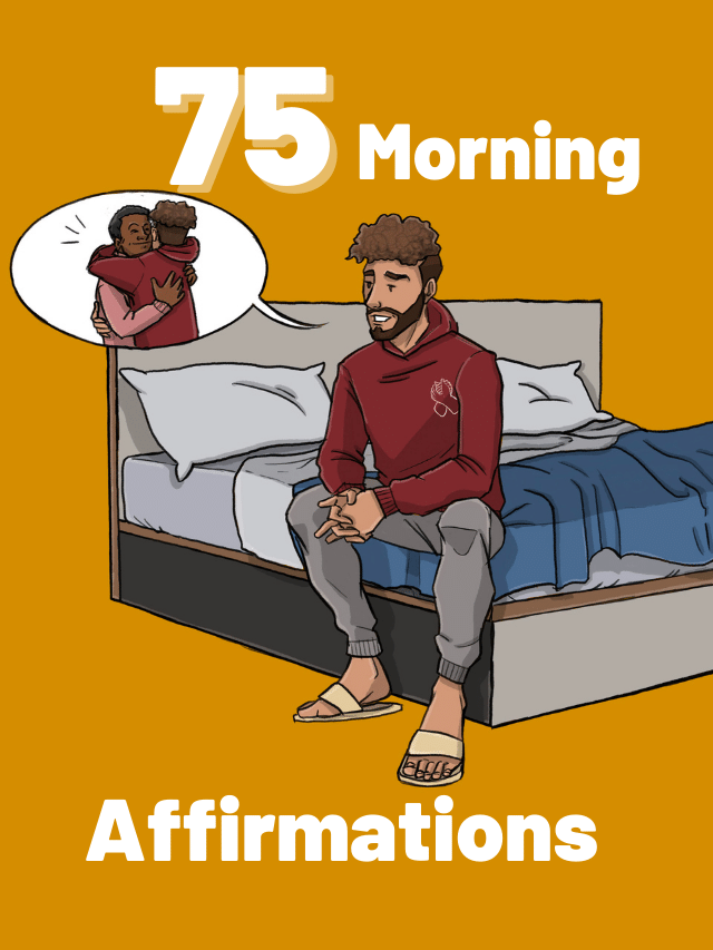 This is a drawing of a man saying his morning affirmations