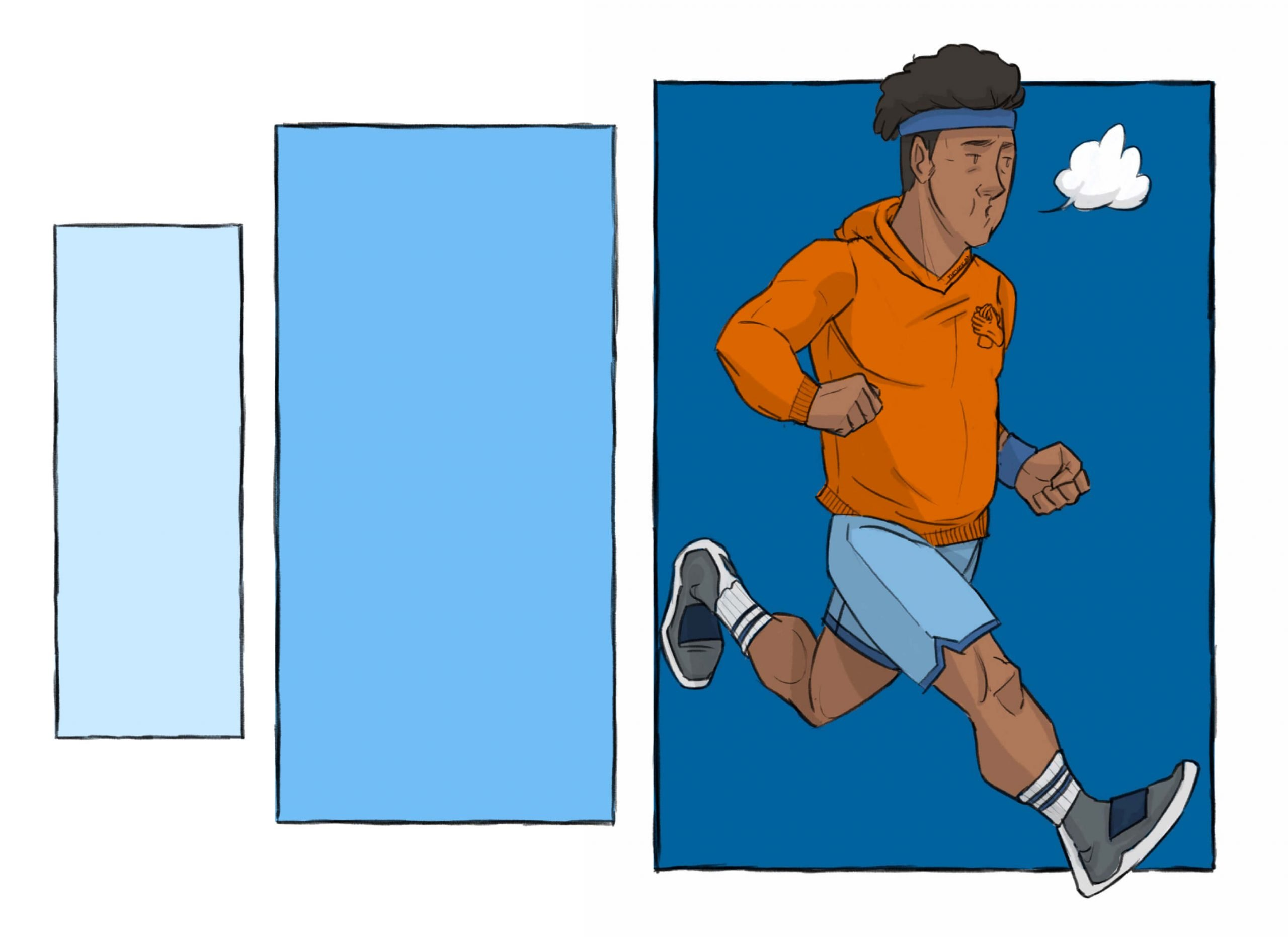 This is a drawing of a black man running