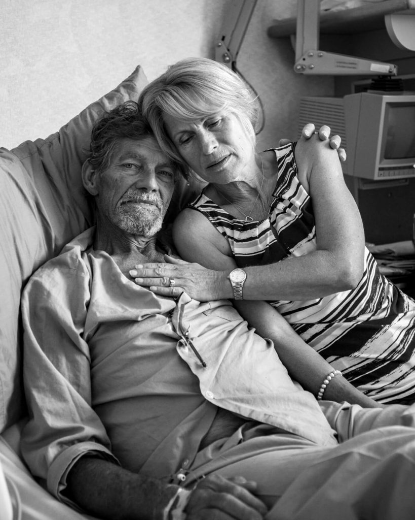 This is a photo of Deit and wife in what to say when someone dies