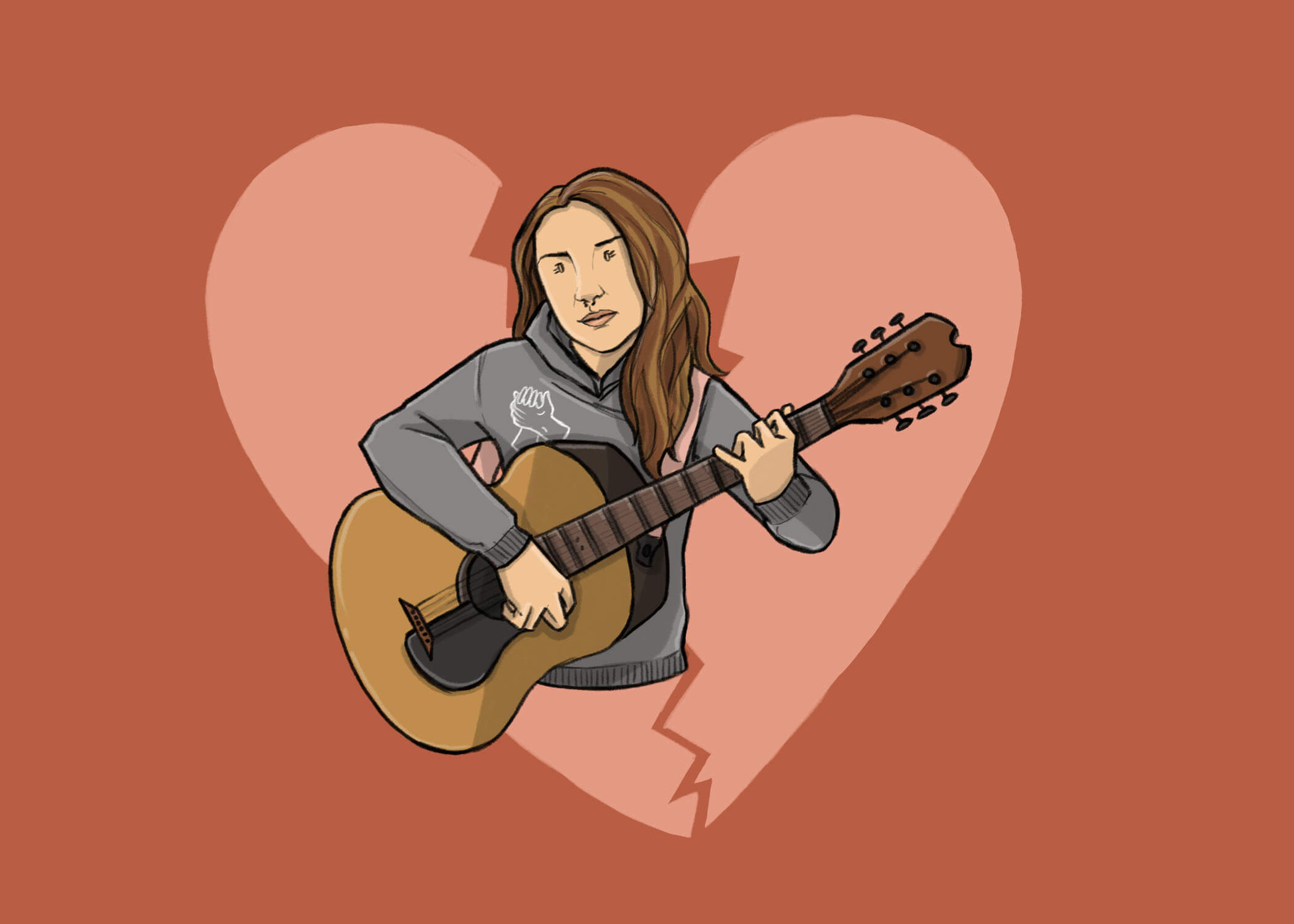this is a horizontal drawing of bailey james playing a guitar for never alone