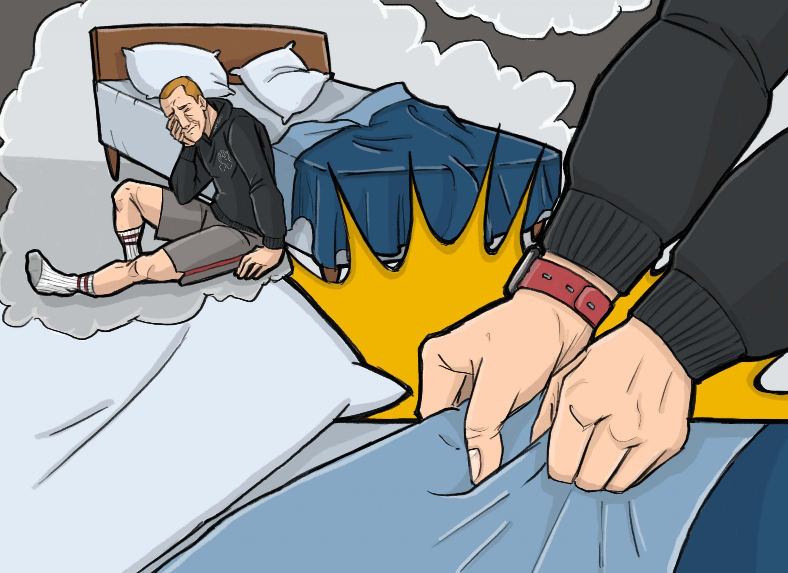 This is a drawing of a man making his bed to get over his heart break