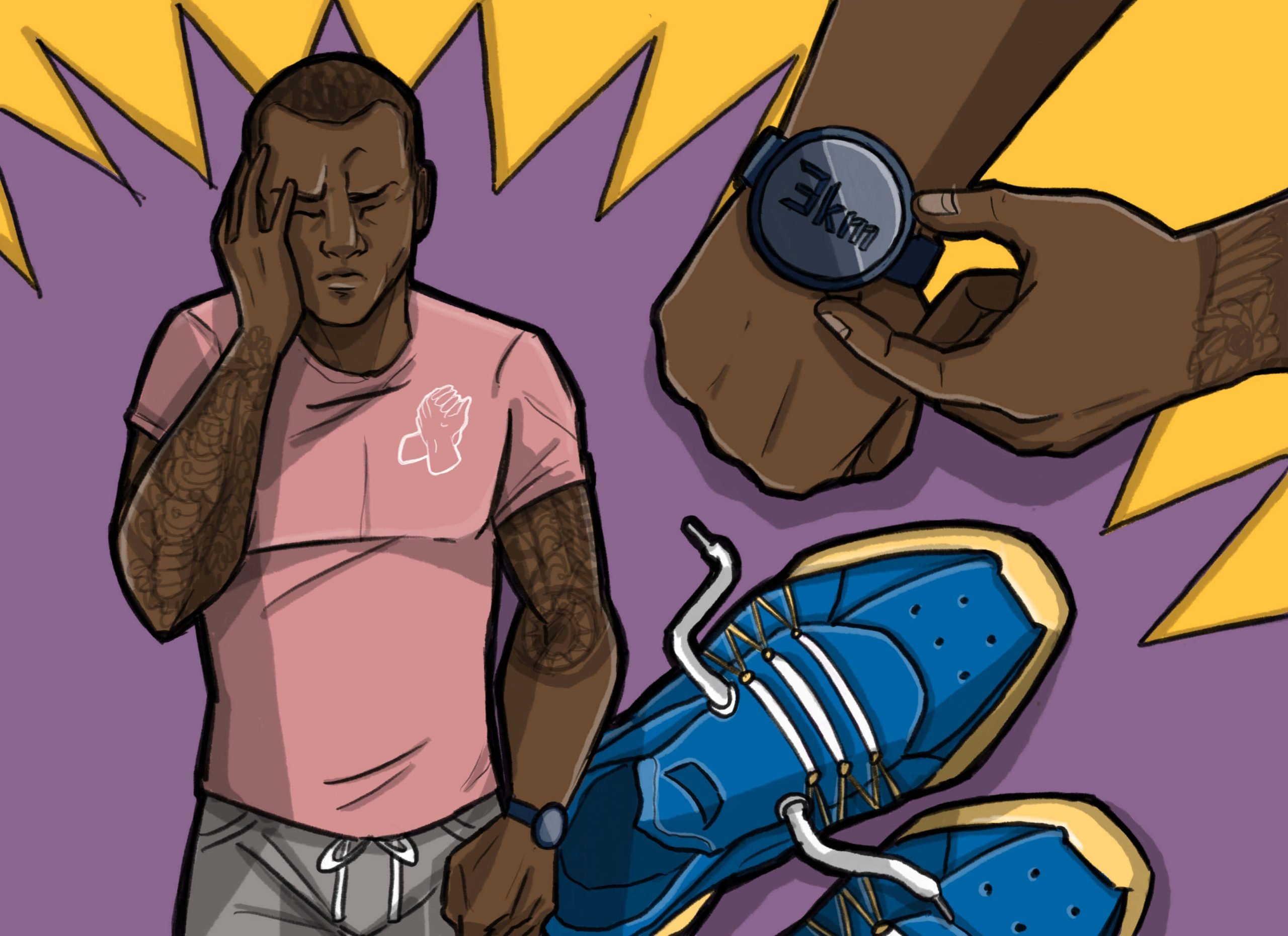 This is a horizontal drawing of a black man getting anxiety and going running