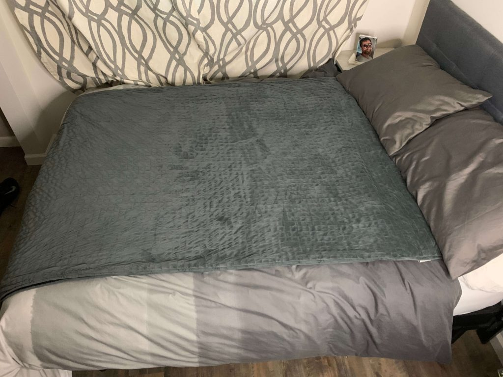This is a photo of a gravity blanket on a twin bed