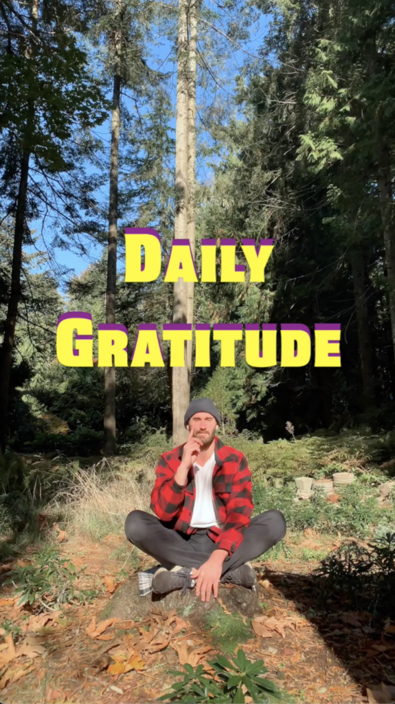 This is a photo of a man doing daily gratitude