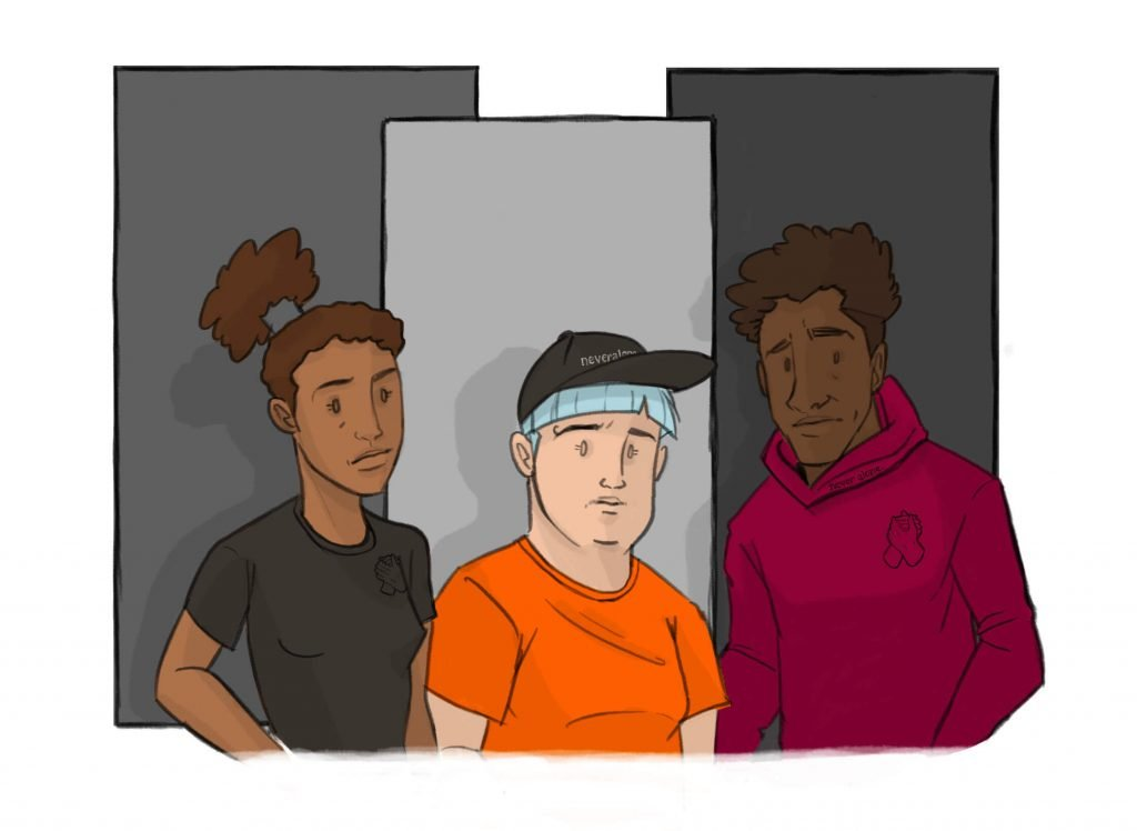 this is a drawing of three people at therapy