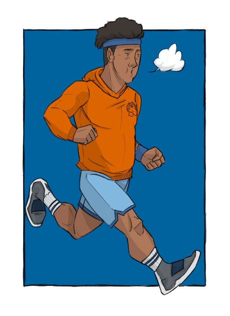 this is a drawinng of a black man running for mental health