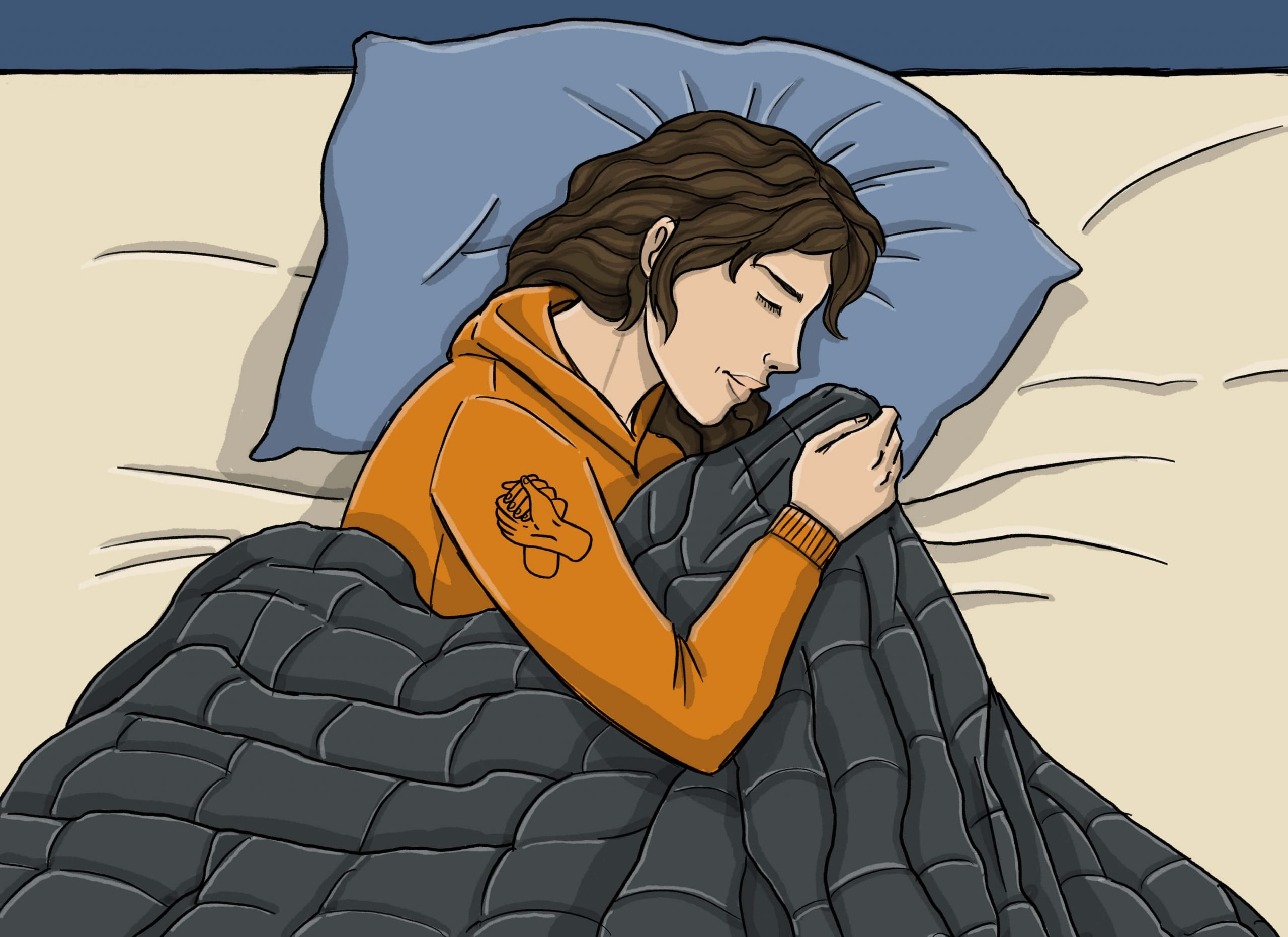 this is a drawing of a girl using a gravity weighted blanket