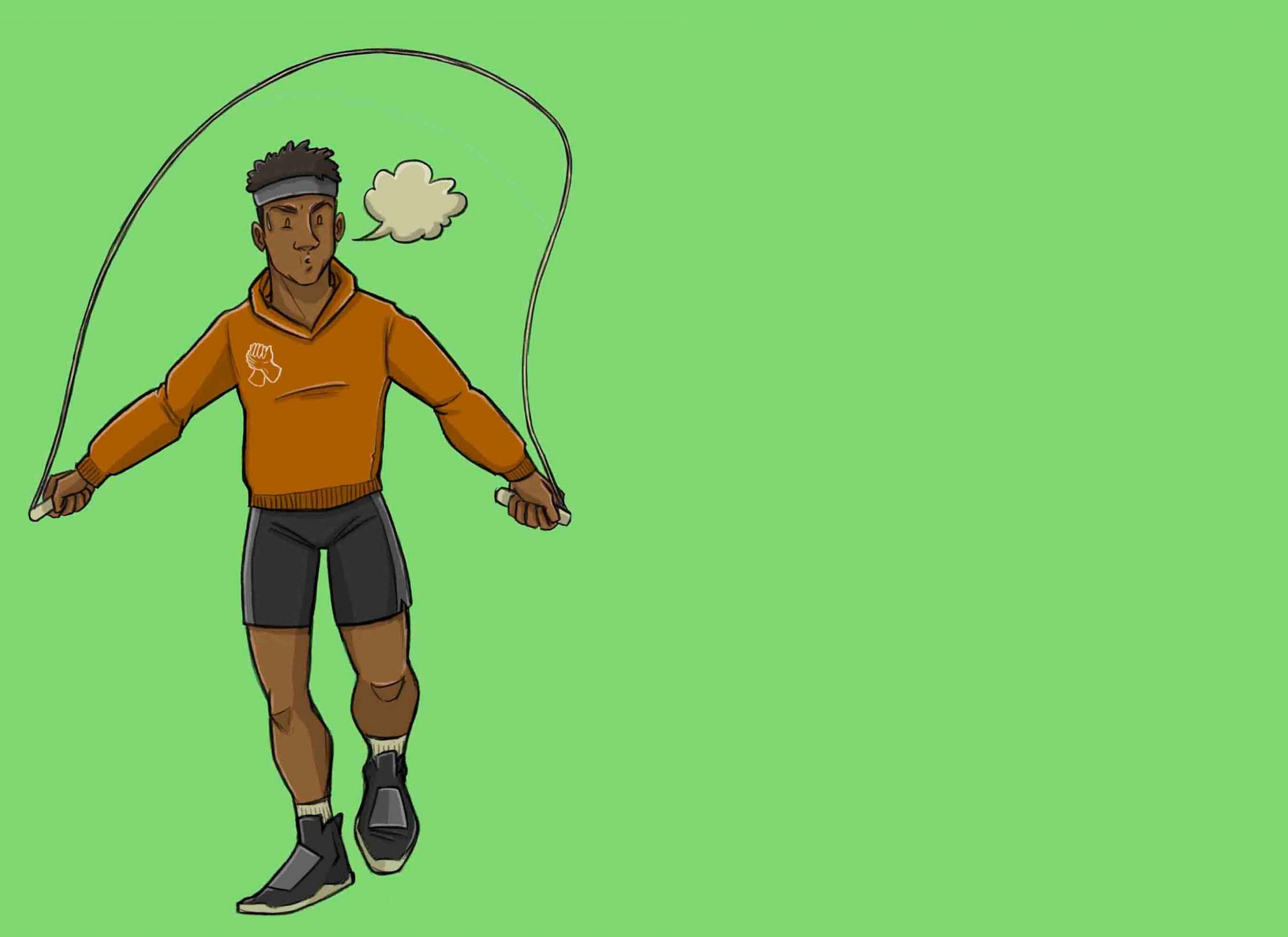 this is a drawing of a man skipping rope to get in shape