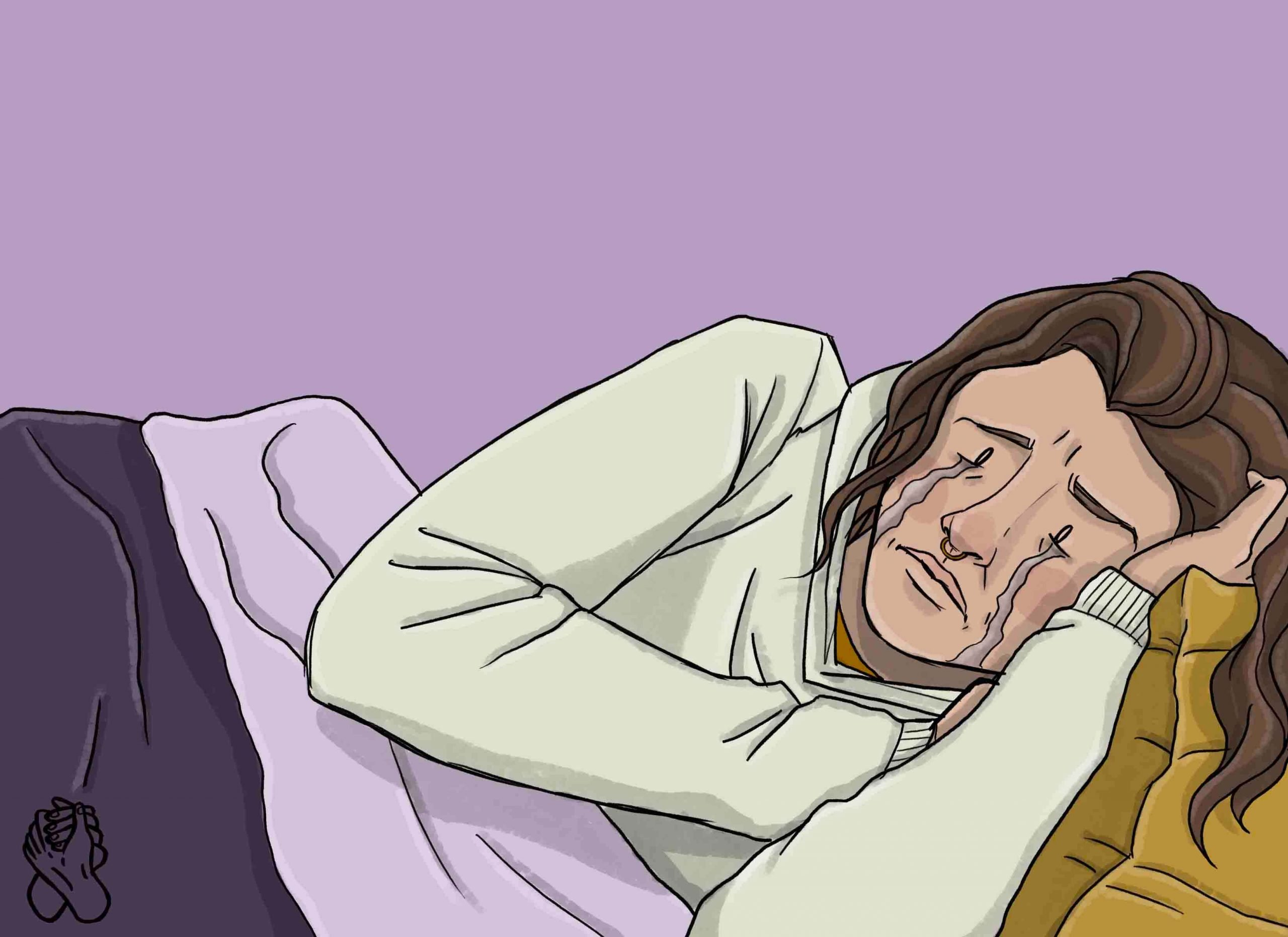 this is a drawing of a girl crying in bed with depression