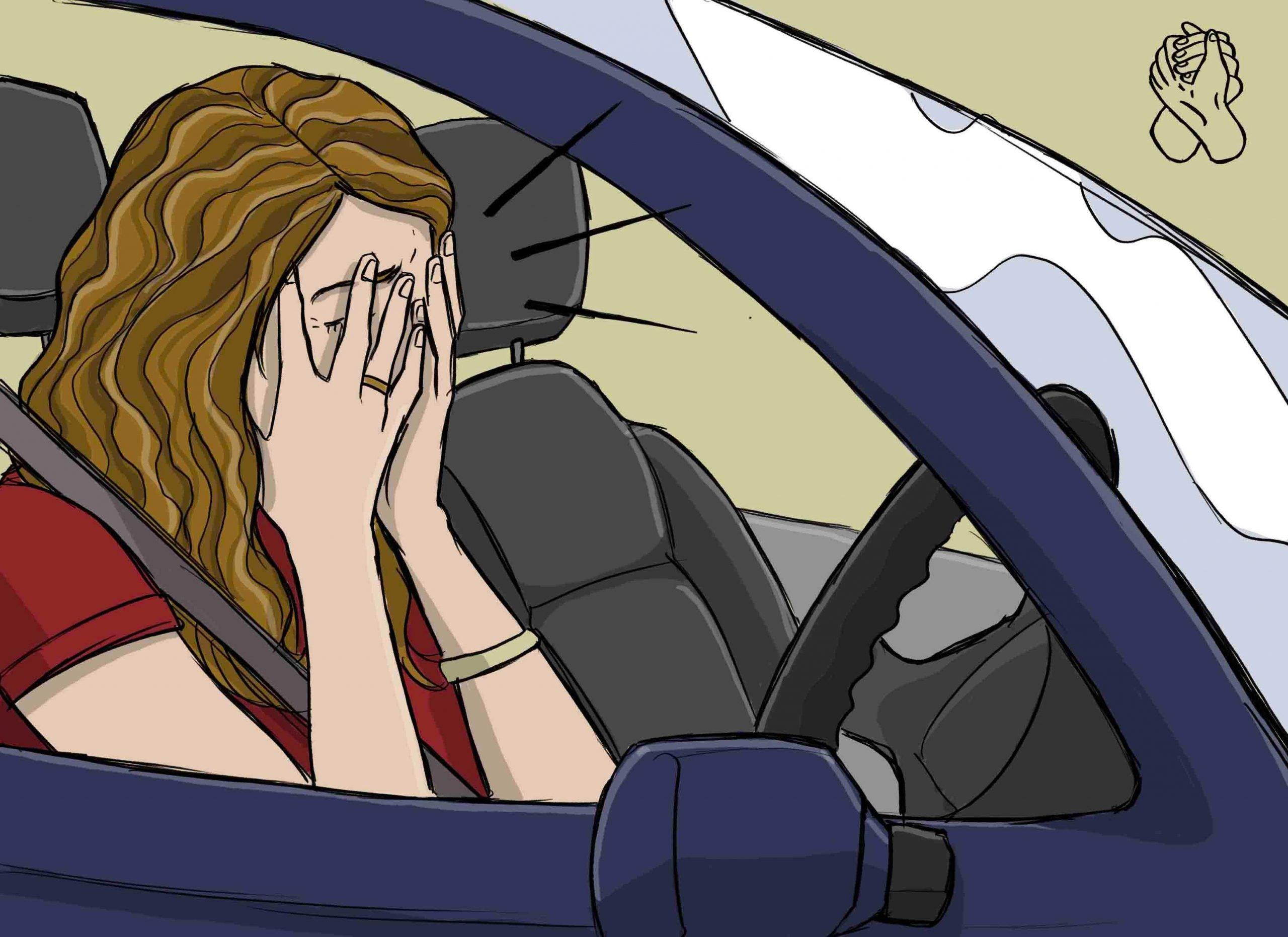 This is a drawing of a girl having driving anxiety