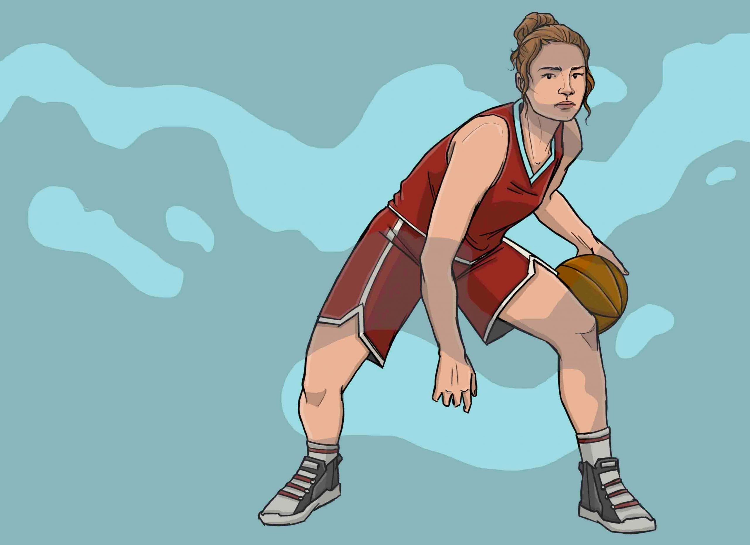 this is a drawing of mikaeka brewer playing basketball