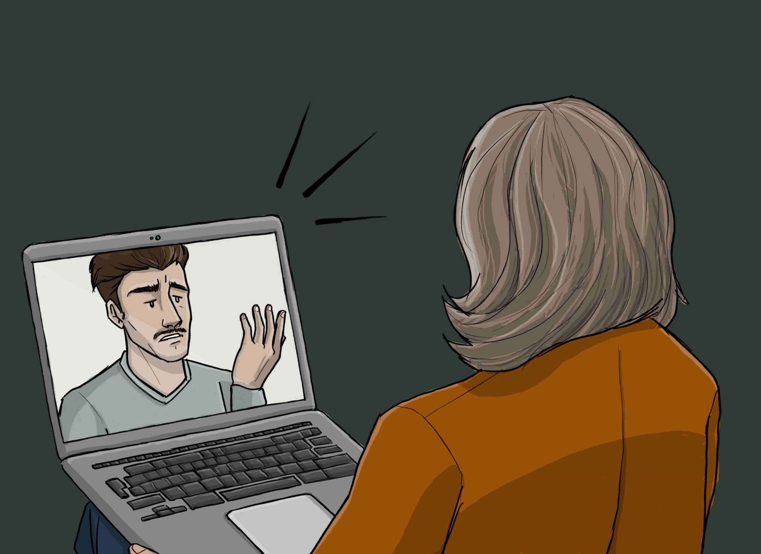 this is a drawing of an online therapy session