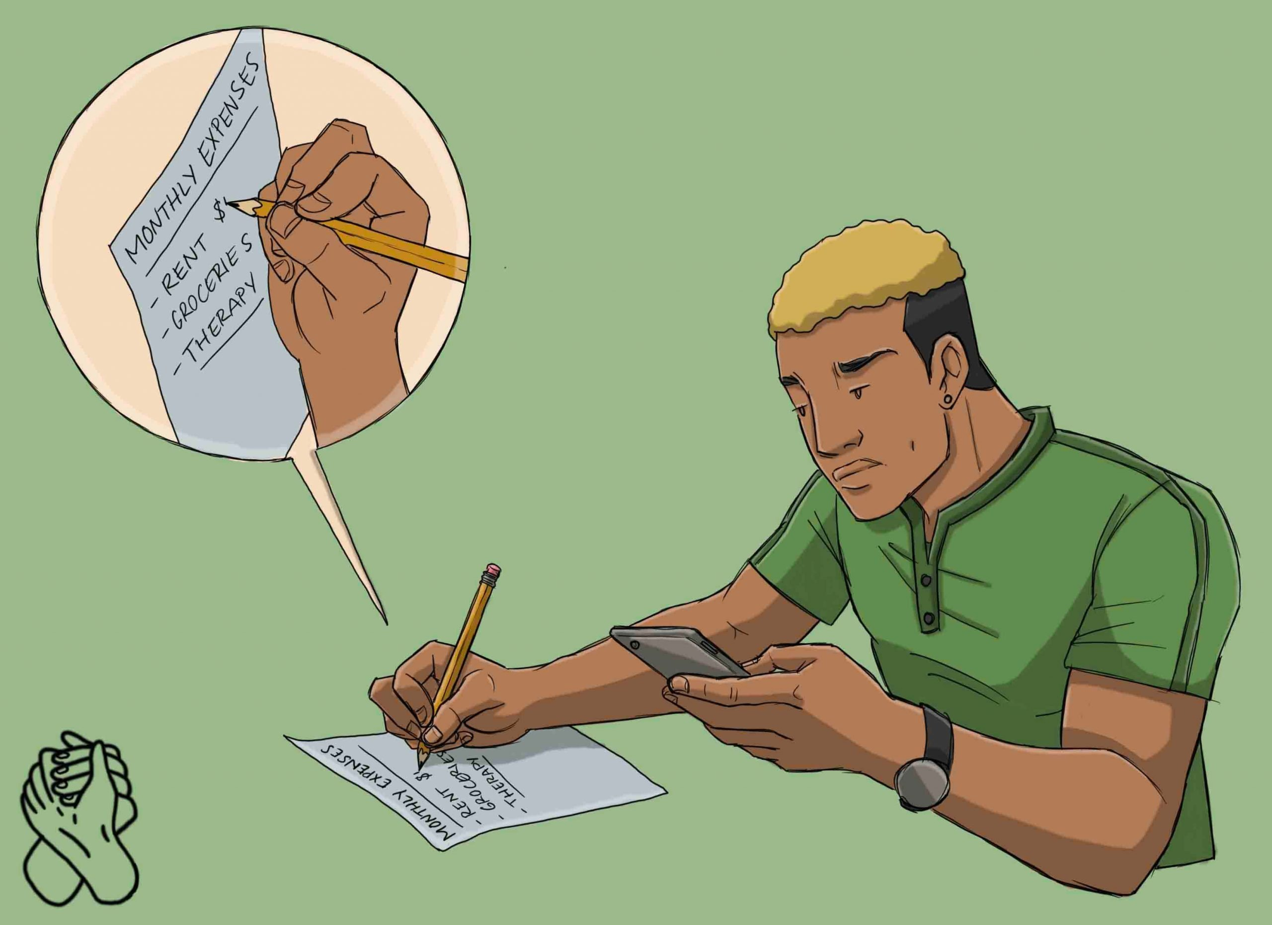 This is a drawing of a man preparing for an online therapy session