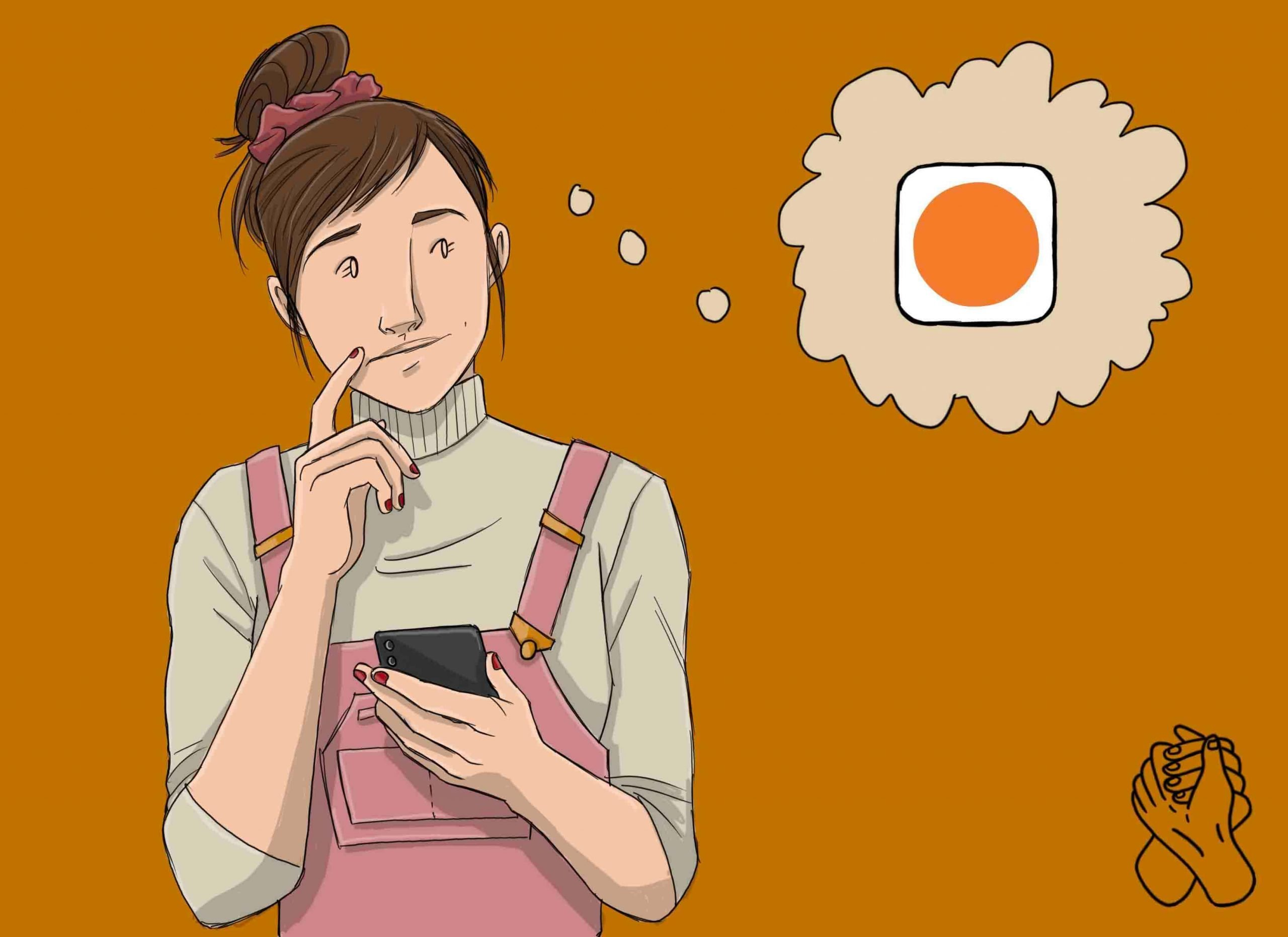 This is a drawing of a girl using the headspace app