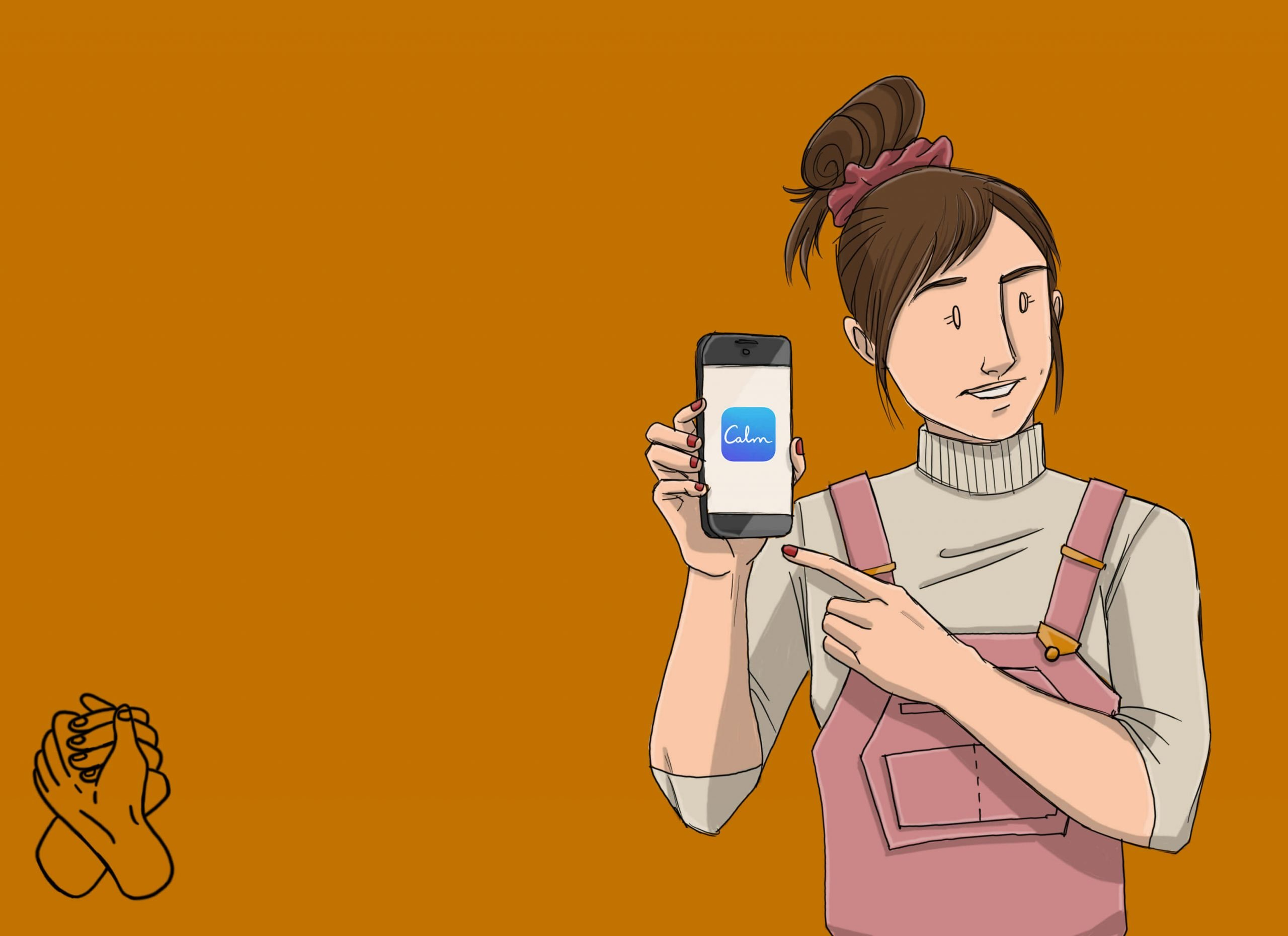 This is a drawing of a girl using the calm app