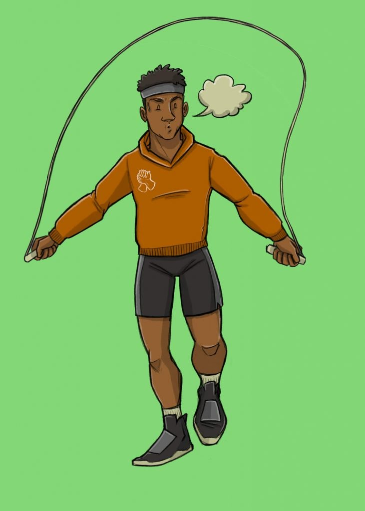 This is a vertical drawing of a black man skipping rope