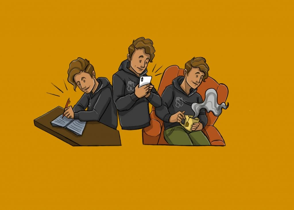 this is a drawing of three people seizing the day