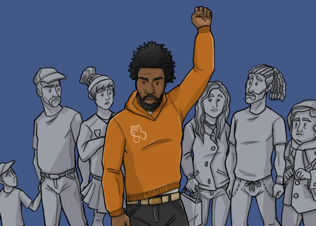 this is a drawing of a black man infront of white people raising his hand