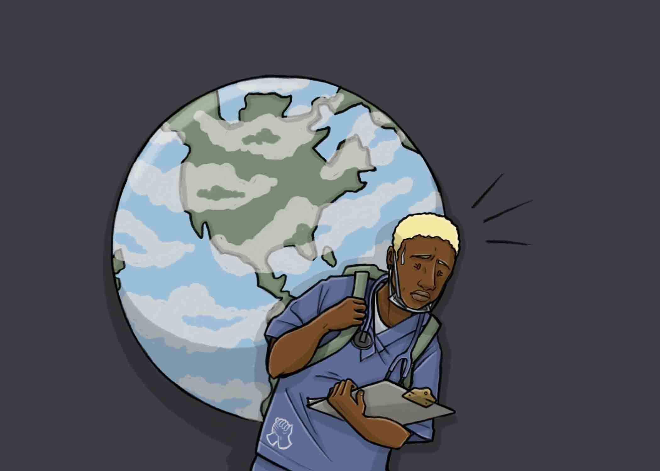 this is a drawing of a black nurse carrying the world on her back