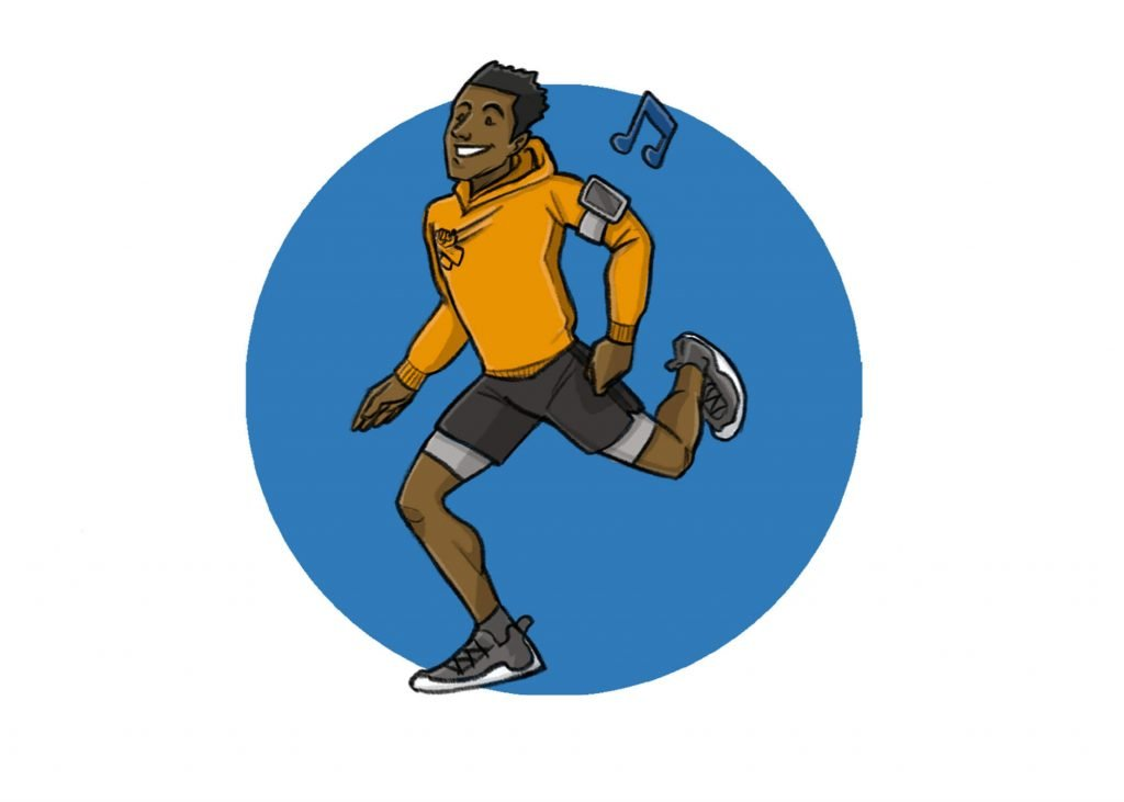 this is a drawing of a black man running and happy