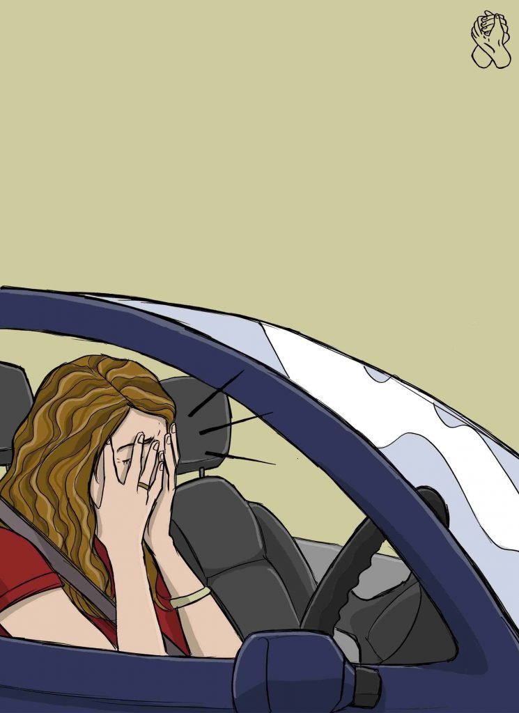 this is a girl having driving anxiety