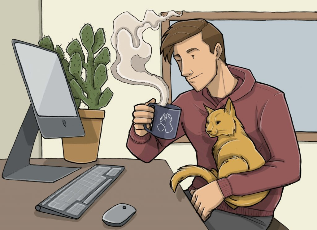 this is a drawing of a man working from home