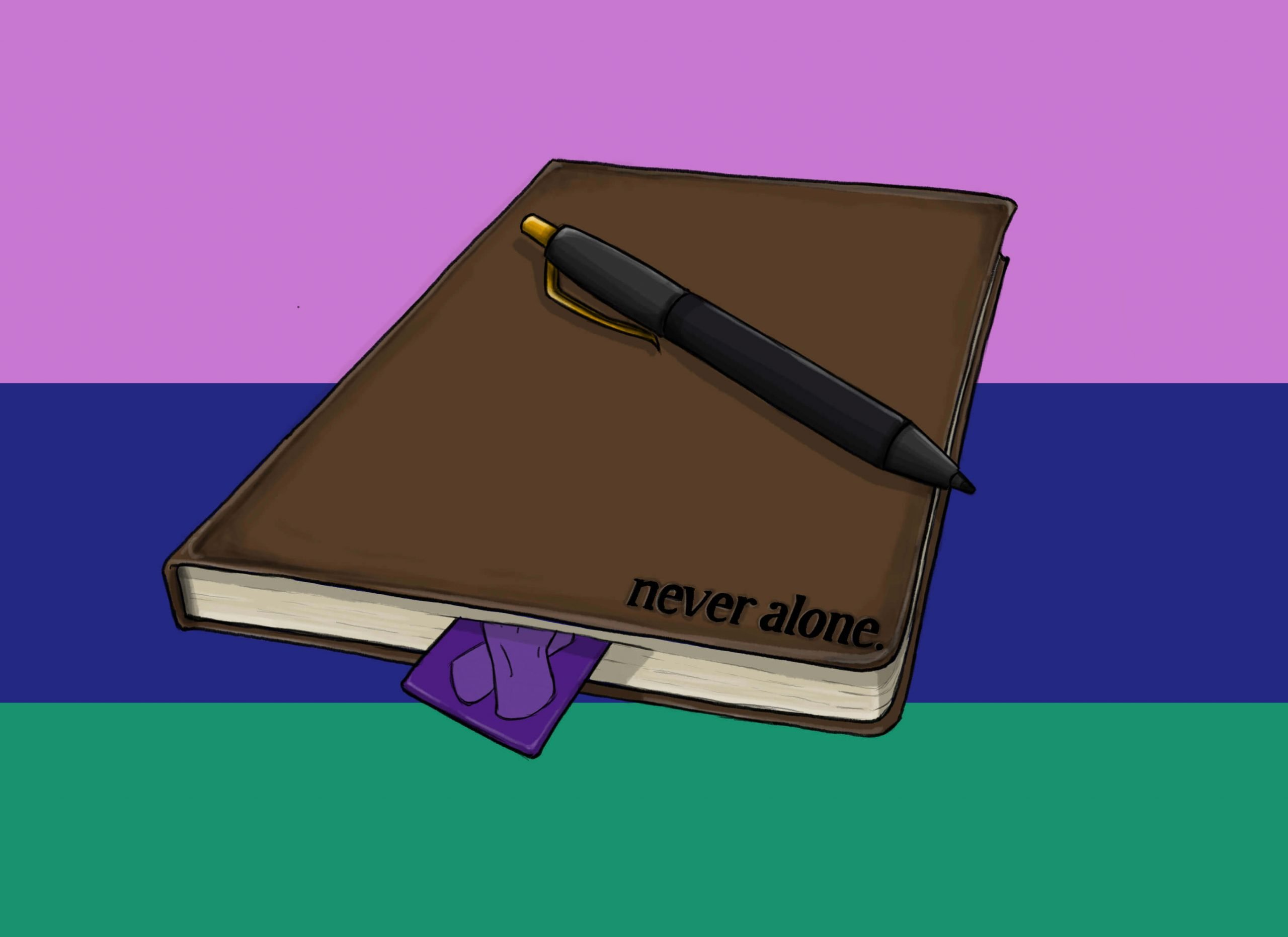 this is a drawing of a Never Alone leather journal