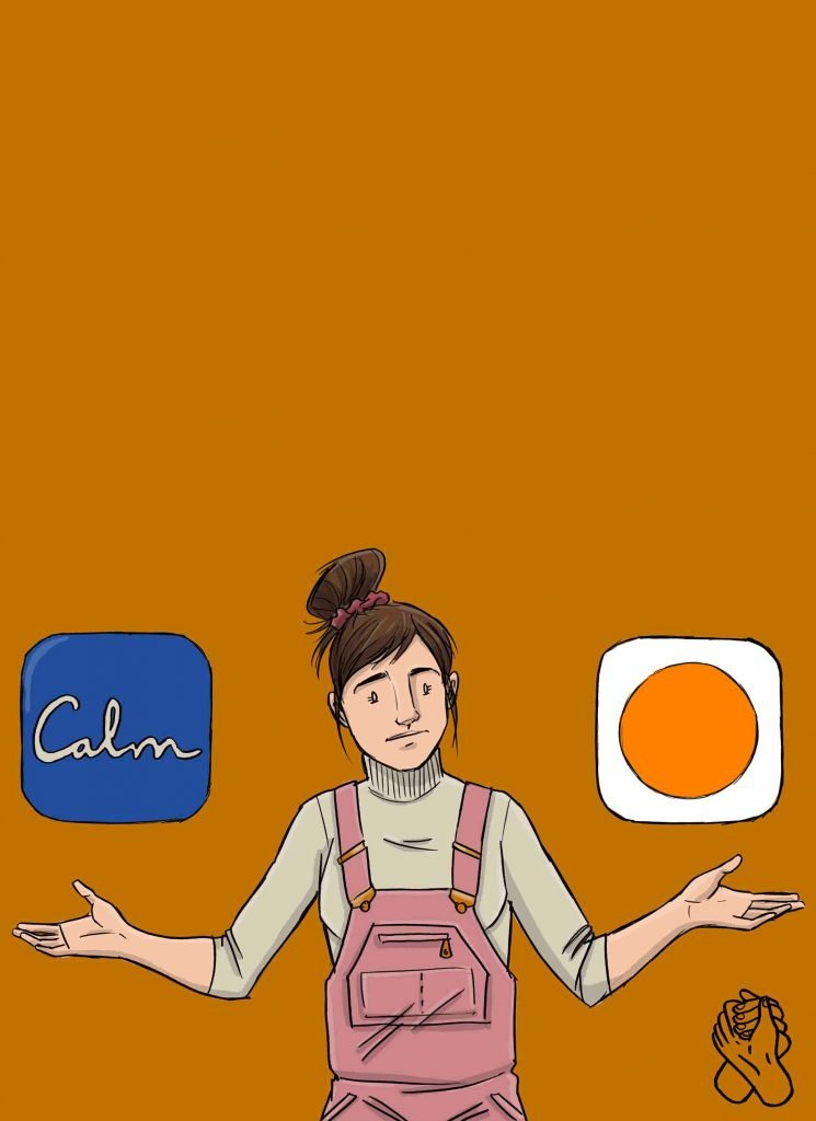 This is a drawing of a person deciding on the calm vs headspace app