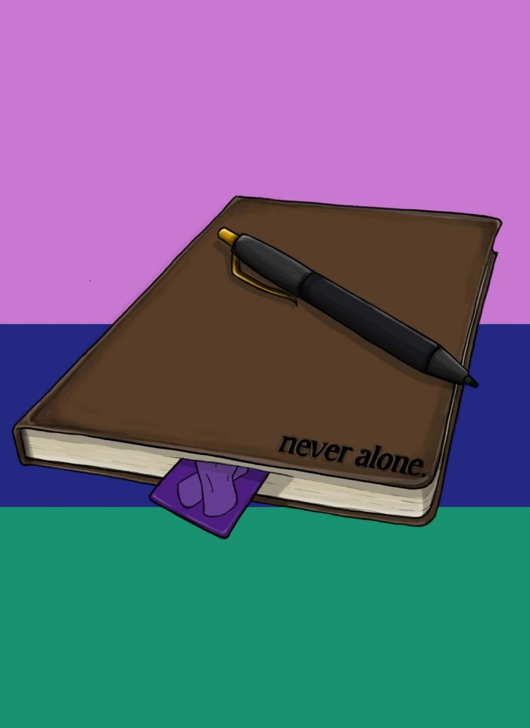 this is a drawing of a Never Alone diary entry