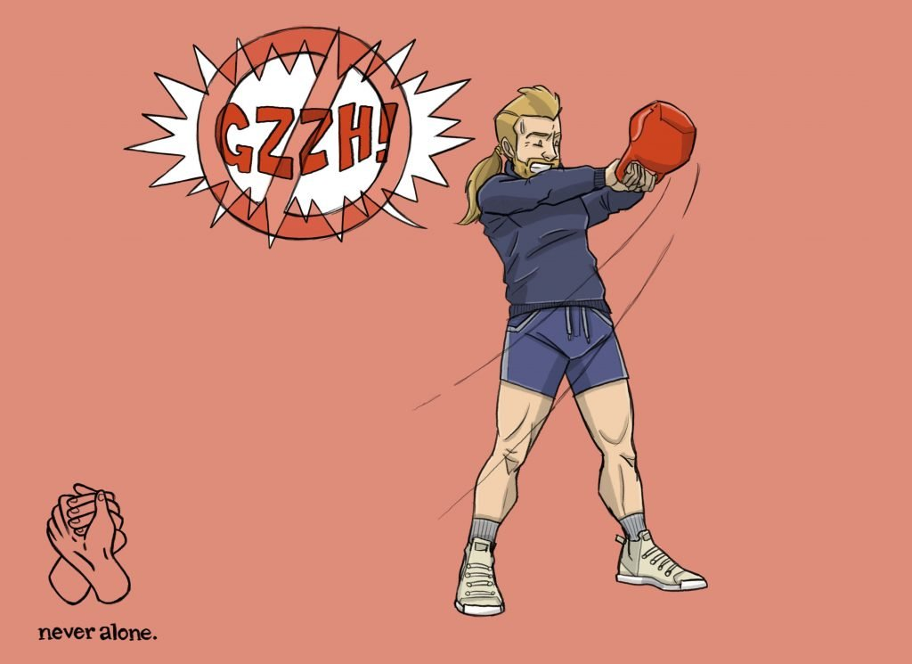 This is a horizontal drawing of a man swinging a kettle bell and grunting with poor gym etiquette