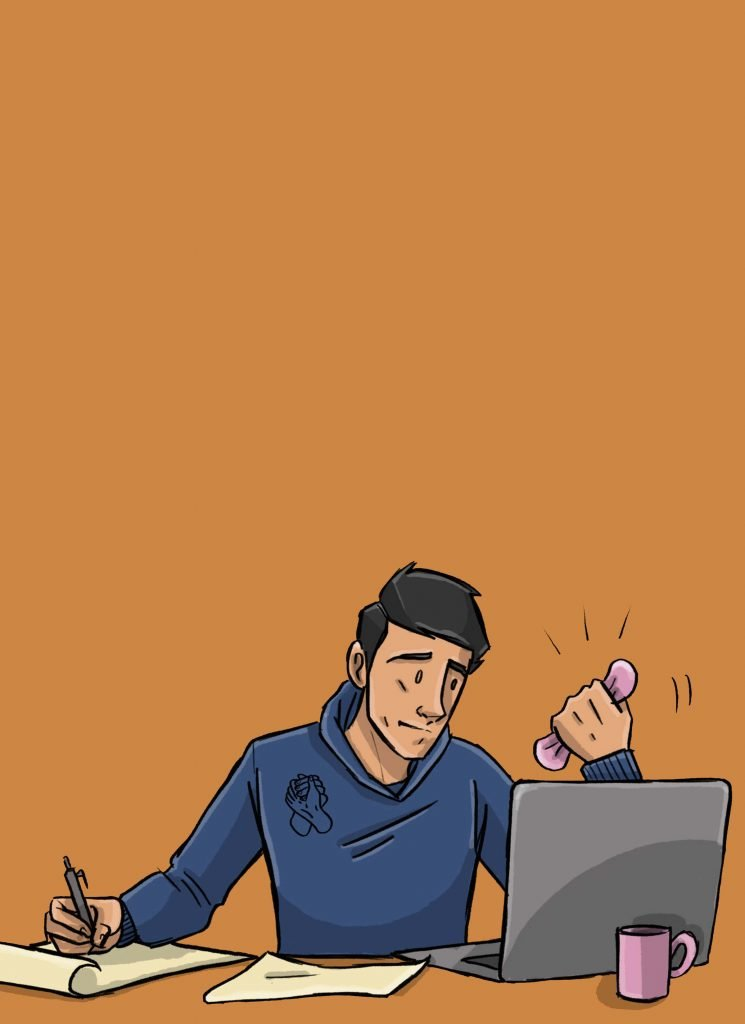 This is a vertical drawing of a man using stress toys at his computer