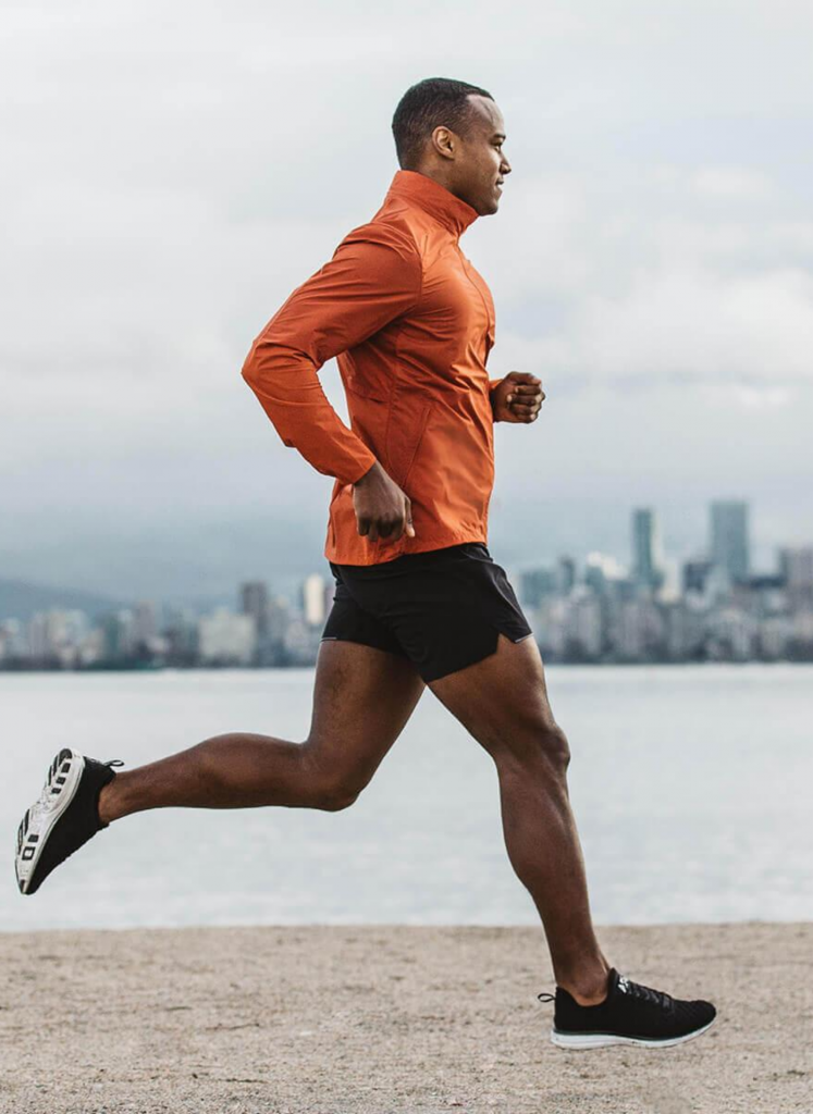 This is a photo of a black man running to ease anxiety