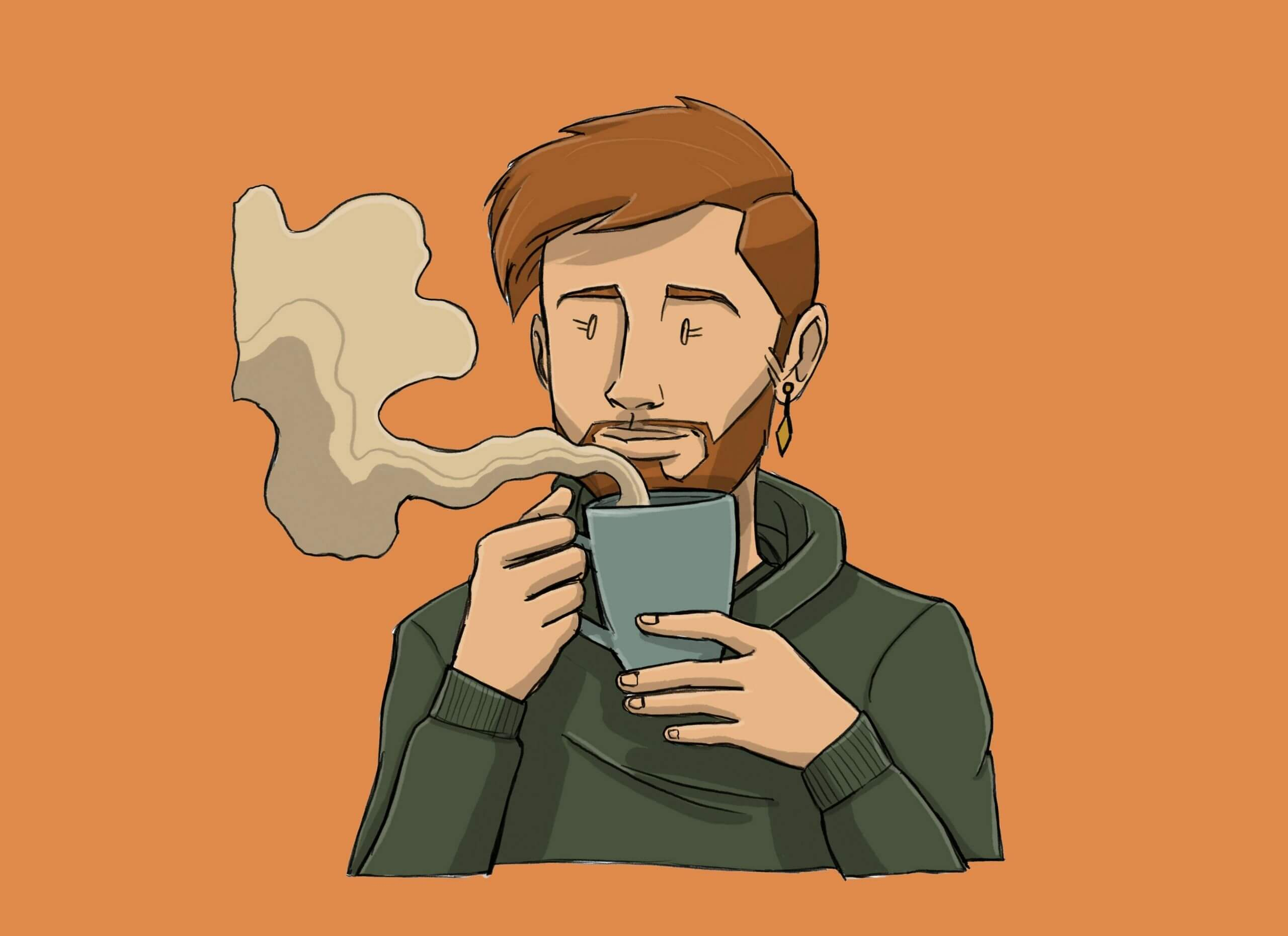 this is a drawing of a binary person drinking coffee