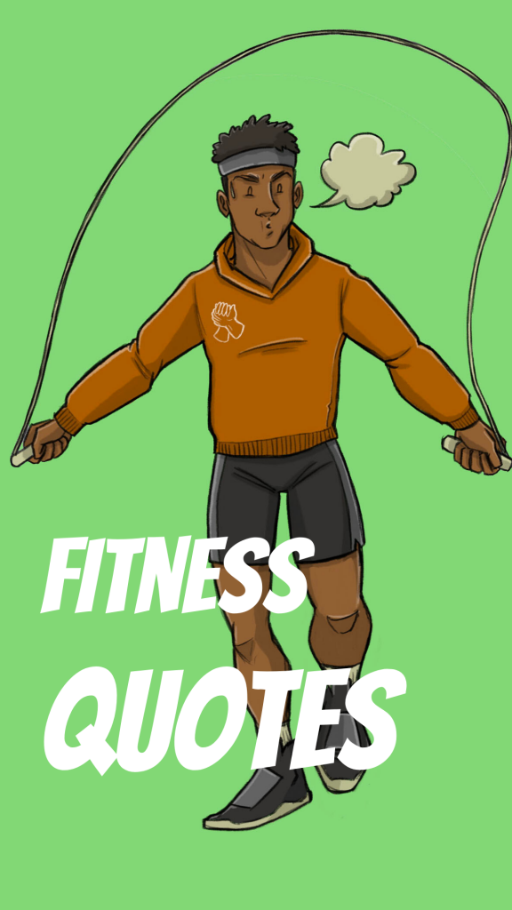 this is a drawing of a black man skipping for a fitness quotes cover page