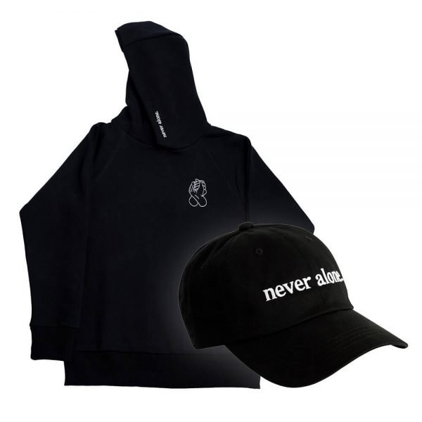 never alone combo black hoodie hat 02