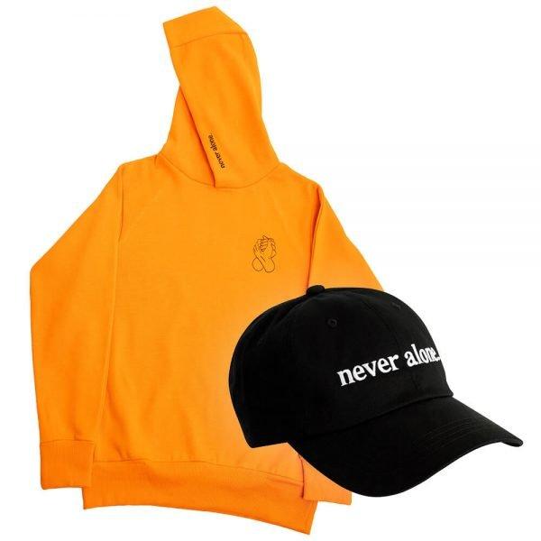 never alone combo orange hoodie hat 02