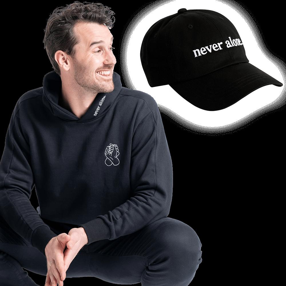 never alone combo paul black hoodie hat 01