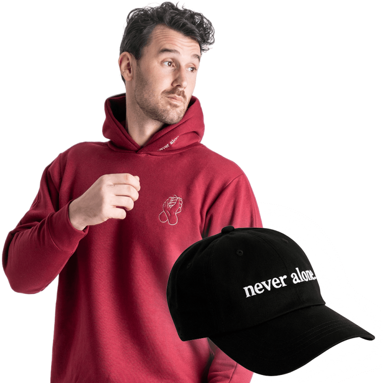 never-alone-combo-paul-red-hoodie-hat-01