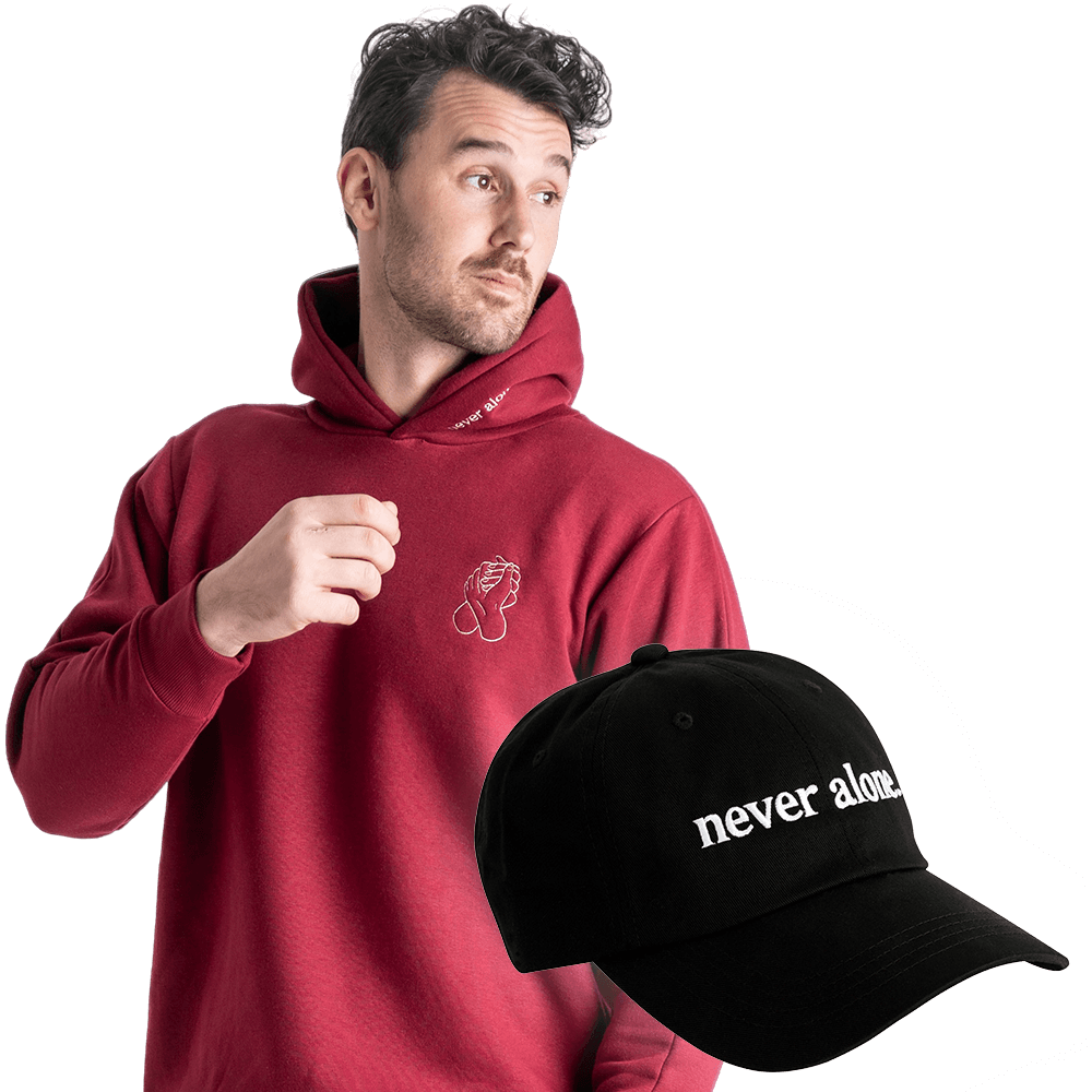 never alone combo paul red hoodie hat 01 1