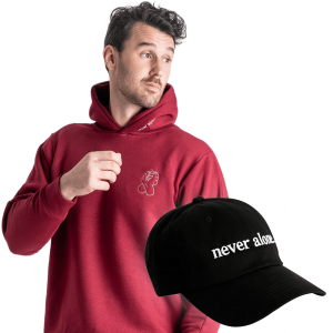 never alone combo paul red hoodie hat 01