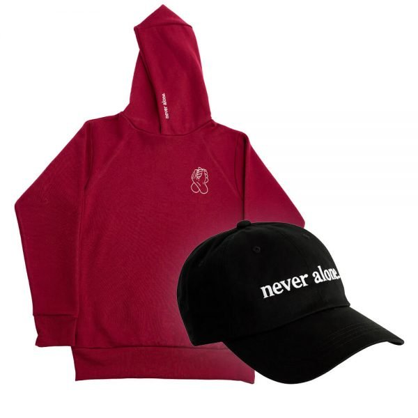 never alone combo red hoodie hat 02