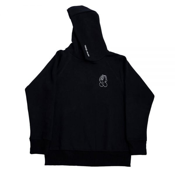 never alone hoodie 1x1 background black