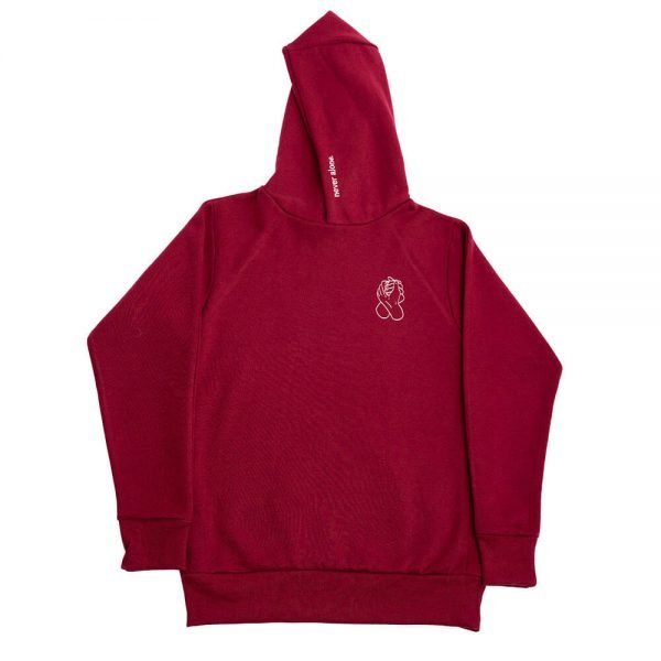 never alone hoodie 1x1 background maroon